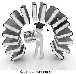 arc-en-ciel, aimer, coloré, remise de diplomes, livres, w, 3d, chapeau, homme