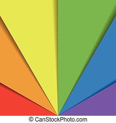 arc-en-ciel, arrangé, feuilles, coloré, effect., résumé, papier peint, spectre, chevaucher, fan., papier, couleurs, vecteur, fond, ombre, heureux