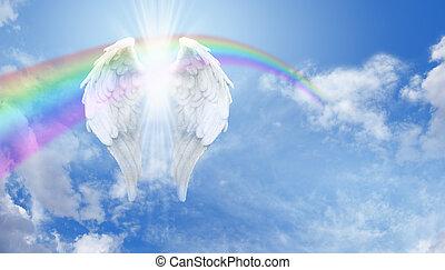 arc-en-ciel, bannière, ailes, ange