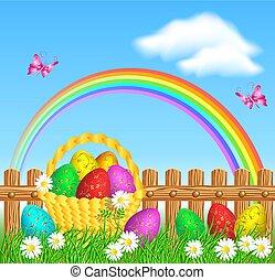 arc-en-ciel, barrière, doré, bois, oeufs, ornement, contre, panier, herbe, paques
