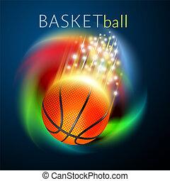 arc-en-ciel, basket-ball, sur, voler, sport boule