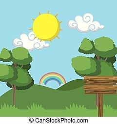 arc-en-ciel, bois, paysage, signe