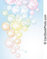 arc-en-ciel, bulles, fond