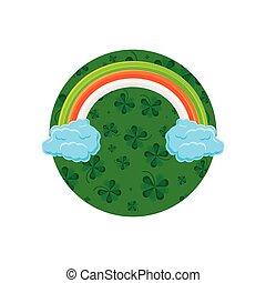 arc-en-ciel, cadre, nuages, circulaire