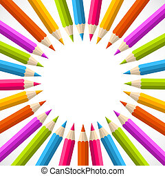 arc-en-ciel, cercle, dos, crayon, école
