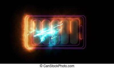 arc-en-ciel, chargeur, batterie, temps, puissant, ligne, changement, couleur, quand