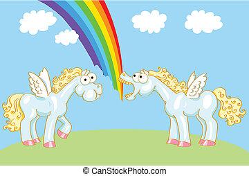 arc-en-ciel, cheval, deux, ailes, dessin animé
