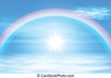 arc-en-ciel, ciel, soleil