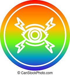 arc-en-ciel, circulaire, oeil, spectre, mystique