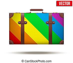 arc-en-ciel, classique, vendange, voyage, bagage, color., valise