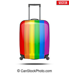 arc-en-ciel, classique, voyage, bagage, plastique, valise, air, ou, route