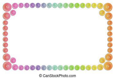 arc-en-ciel, collage, beaucoup, cadre, isolé, boutons, blanc