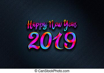 arc-en-ciel, coloré, clair, vecteur, 2019, fond, année, nouveau, carte, heureux