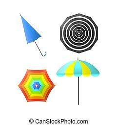arc-en-ciel, coloré, couleurs, vecteur, rayé, parapluies