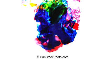 arc-en-ciel, concept, sélectif, couleur, barbouillage, -, foyer, eau, peinture, couleurs, éclaboussure, fond, encre, cmyk, acrylique, goutte, blanc