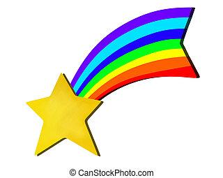 Arc En Ciel étoiles Rendu Coloré Illustration