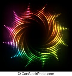 arc-en-ciel, cosmique, résumé, néon, spirales, cadre