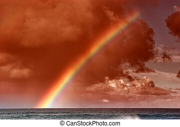 arc-en-ciel, coucher soleil, hawaien