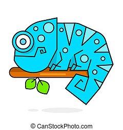 arc-en-ciel, couleur caméléon, caractère, illustration, lézard, dessin animé