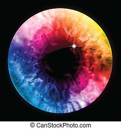 arc-en-ciel, couleur oeil, macro., vecteur, pupille