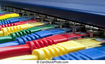 arc-en-ciel, couleur, réseau informatique, bouchons, connecté, à, a, routeur, /, commutateur