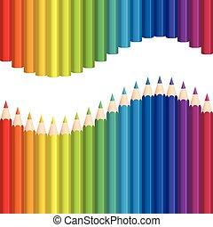 arc-en-ciel, crayons, crayons, coloré, wav