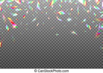 arc-en-ciel, cristal, isolated., glitch, effet, illustration, métallique, arrière-plan., fleuret, vecteur, iridescent, hologramme, briller