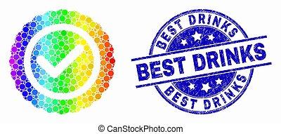arc-en-ciel, détresse, icône, timbre, vecteur, cachet, boissons, approuver, pixel, mieux, coloré