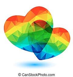 arc-en-ciel, deux coeurs