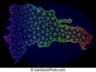 arc-en-ciel, dominicain, carcasse, maille, polygonal, carte, vecteur, république