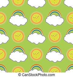 arc-en-ciel, dormir, nuage, soleil
