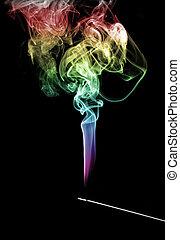 arc-en-ciel, encens, fumée