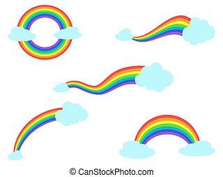 arc-en-ciel, ensemble, nuage, coloré, icônes