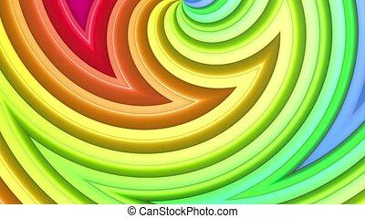 arc-en-ciel, fait boucle, cyclically, 4k., résumé, mouvement, lisser, raies, courbes, multicolore, géométrie, simple, clair, seamless, fond, dessin animé, créatif, style., animation., 3d
