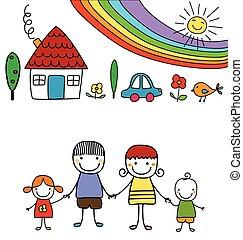 arc-en-ciel, famille, heureux