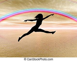 arc-en-ciel, femme, sauter