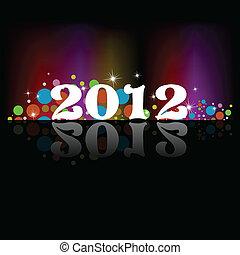 arc-en-ciel, flayer, coloré, temp, &, affiche, année, étoiles, couverture, lets, circles., fond, couleurs, nouveau, célébration, ou, 2012