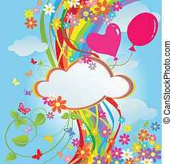 arc-en-ciel, fleurs, bannière