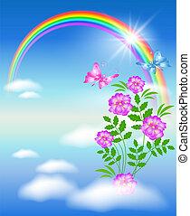arc-en-ciel, fleurs, ciel