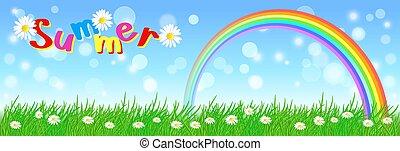 arc-en-ciel, fleurs, ciel, pré