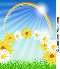arc-en-ciel, fleurs, herbe, vert