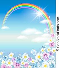 arc-en-ciel, fleurs, nuages, ciel