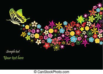 arc-en-ciel, fleurs, vecteur, butterfly.
