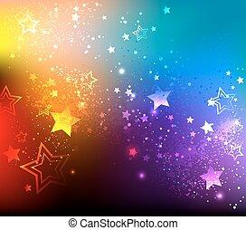 arc-en-ciel, fond, étoiles