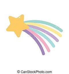 arc-en-ciel, fond, dessin animé, étoile, blanc, icône, isolé, tir, conception