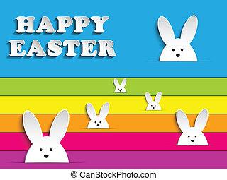 arc-en-ciel, fond, lapin, lapin pâques, heureux