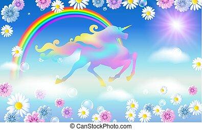 arc-en-ciel, fond, univers, ciel, contre, luxueux, enroulement, crinière, iridescent, licorne, fleurs, galoper