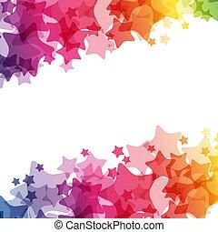 arc-en-ciel, frontière, carnaval, décoration, clair, vecteur, étoiles, texture, card.