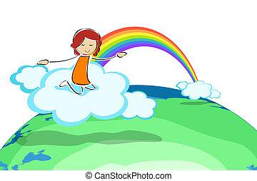 arc-en-ciel, girl, nuage