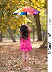 arc-en-ciel, girl, parapluie